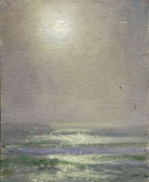 Moonrise over the Atlantic, plein air painting by Daniel Ambrose