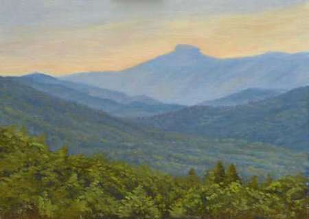 Painting by Daniel Ambrose of Table Rock mountain