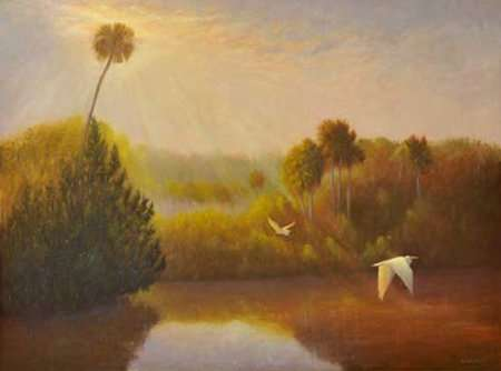 Painting by Daniel Ambrose of Tomoka River