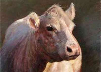 Oil painting of a cow head by Daniel Ambrose