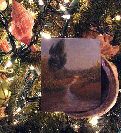Daniel Ambrose plein air painting Christmas ornament