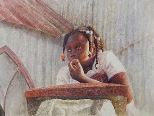 Daniel Ambrose, Drybrush Watercolor, Samana Girl