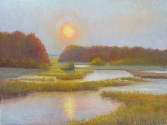 Original oil painting of a Florida wetlands