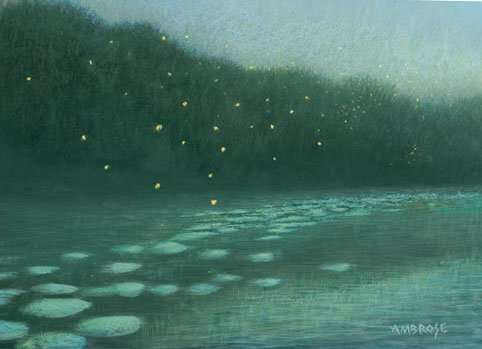 Fireflies and moonlight, egg tempera painting by Daniel Ambrose