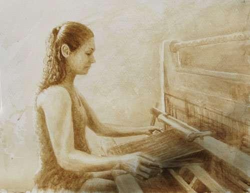 Crossnore weaver, watercolor study by Daniel Ambrose