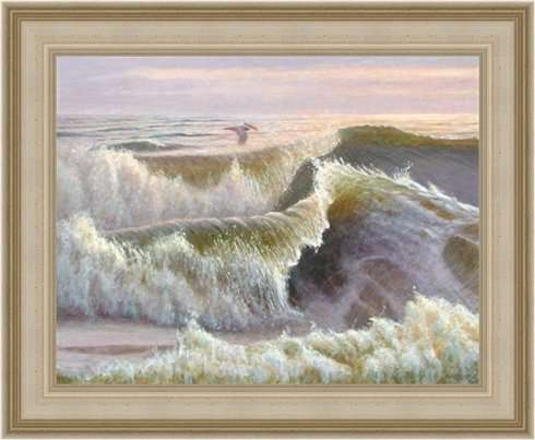 Primal Rhythms, egg tempera painting in Larson Juhl frame