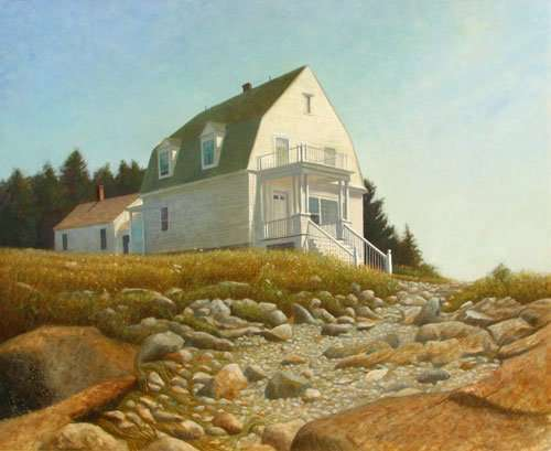 The Light Keepers House. Egg tempera painting by Daniel Ambrose
