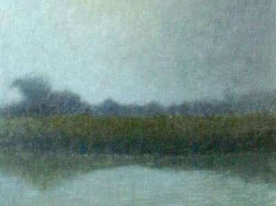 Burning off the fog. egg tempera by daniel ambrose