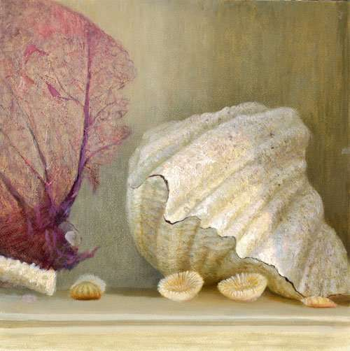Giant Clam and Seafan, oil on gesso board