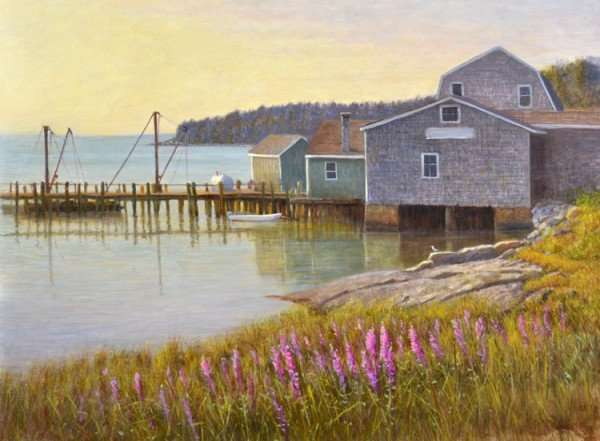 Long Cove, Maine. Oil on Panel. Painting by Daniel Ambrose