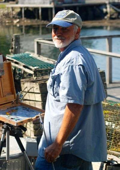 Daniel Ambrose painting at Port Clyde Maine, August 2014