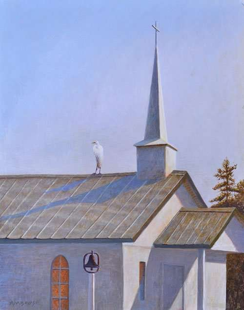 Egg tempera painting of South Carolina church with great egret on roof by American arist Daniel Ambrose