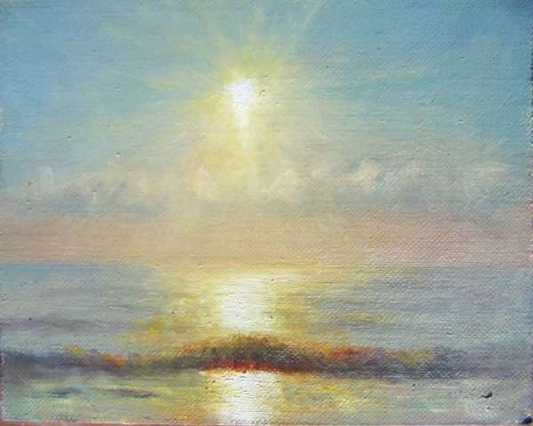 Painting of sunrise over Florida ocean