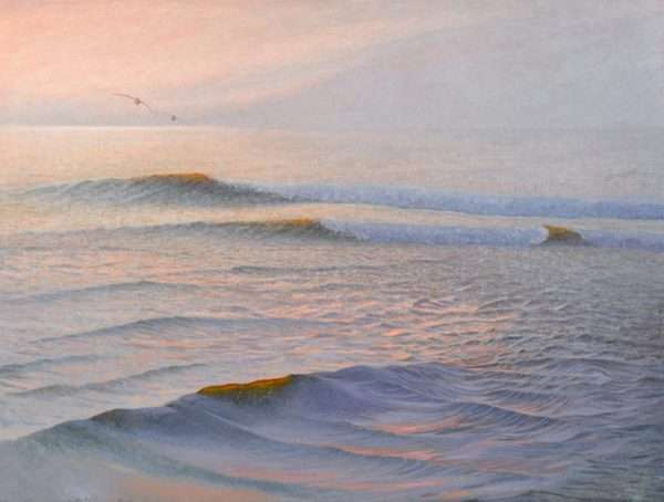 Our Song, oil painting by Daniel Ambrose of pelicans flying over ocean at sunrise