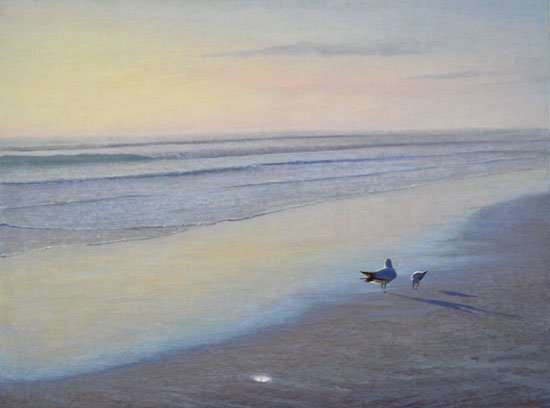 When We Dream, oil painting by Daniel Ambrose of two birds on beach at sunrise