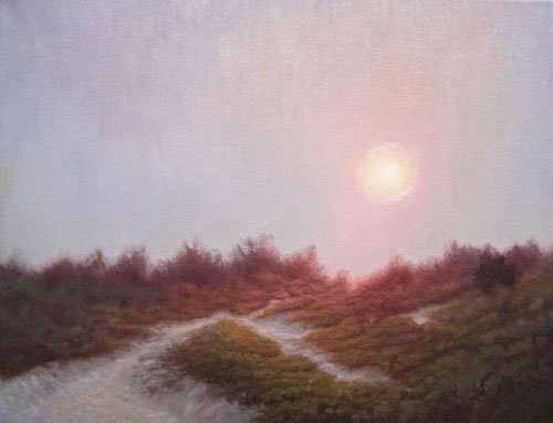 Plein air painting of path through beach dunes at sunrise by Daniel Ambrose