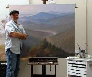 painter daniel ambrose at his easel