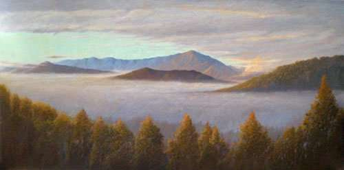 The View, oil painitng of North Carolina mountians by Daniel Ambrose