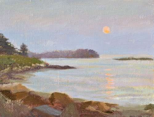Painting in Maine: Clark Island Moonrise