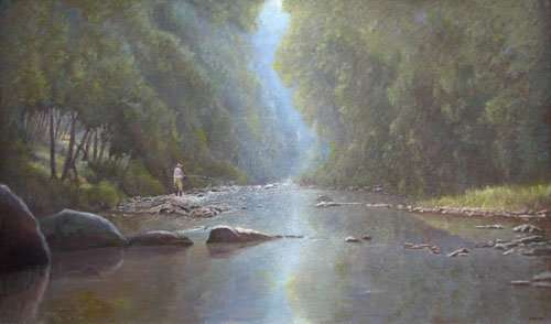 Shimmering Sanctuary: A Fly Fishing Painting Tale