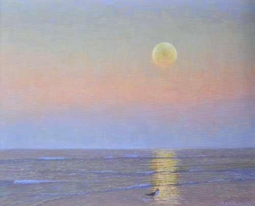 New Egg Tempera: Spring Moonrise